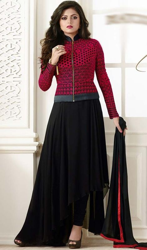 55cc02ce295 Become the talk of the town just like Madhubala in this black and red color  georgette