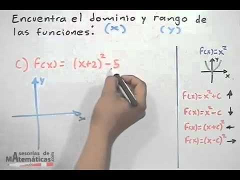 Dominio y rango de una función cuadrática (ejercicio) - YouTube ...