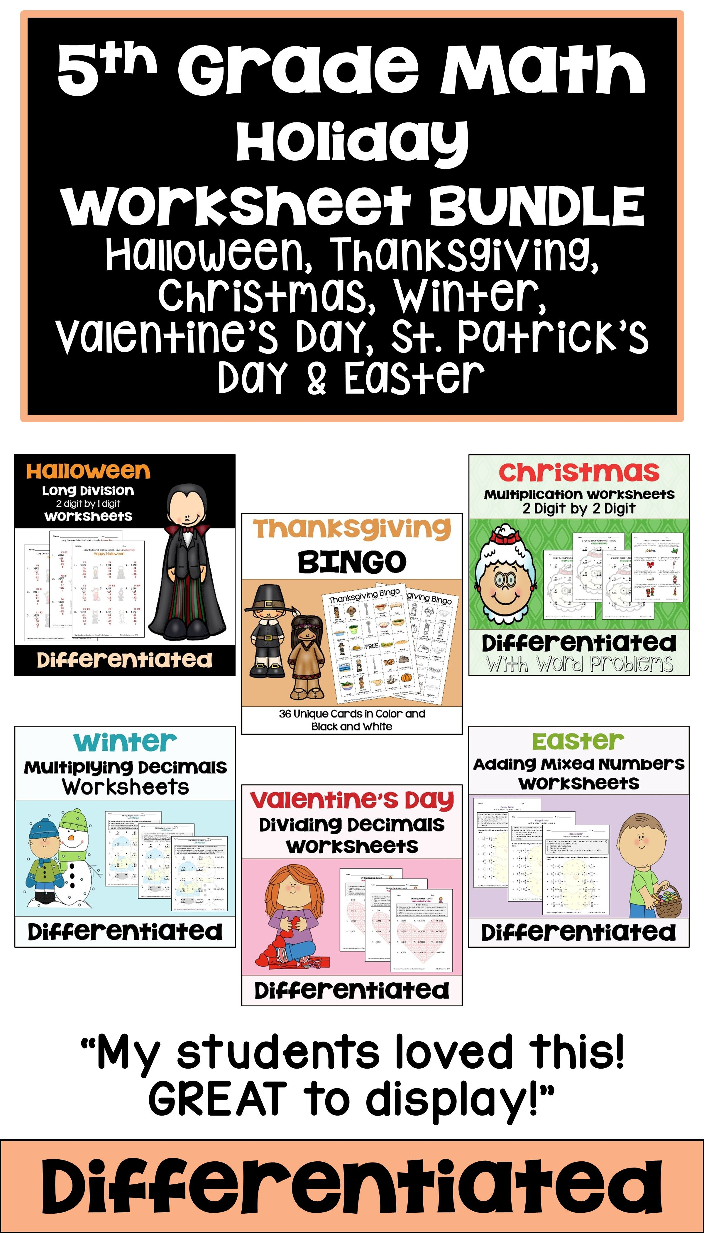 This 5th Grade Math Holiday Worksheet Bundle Features