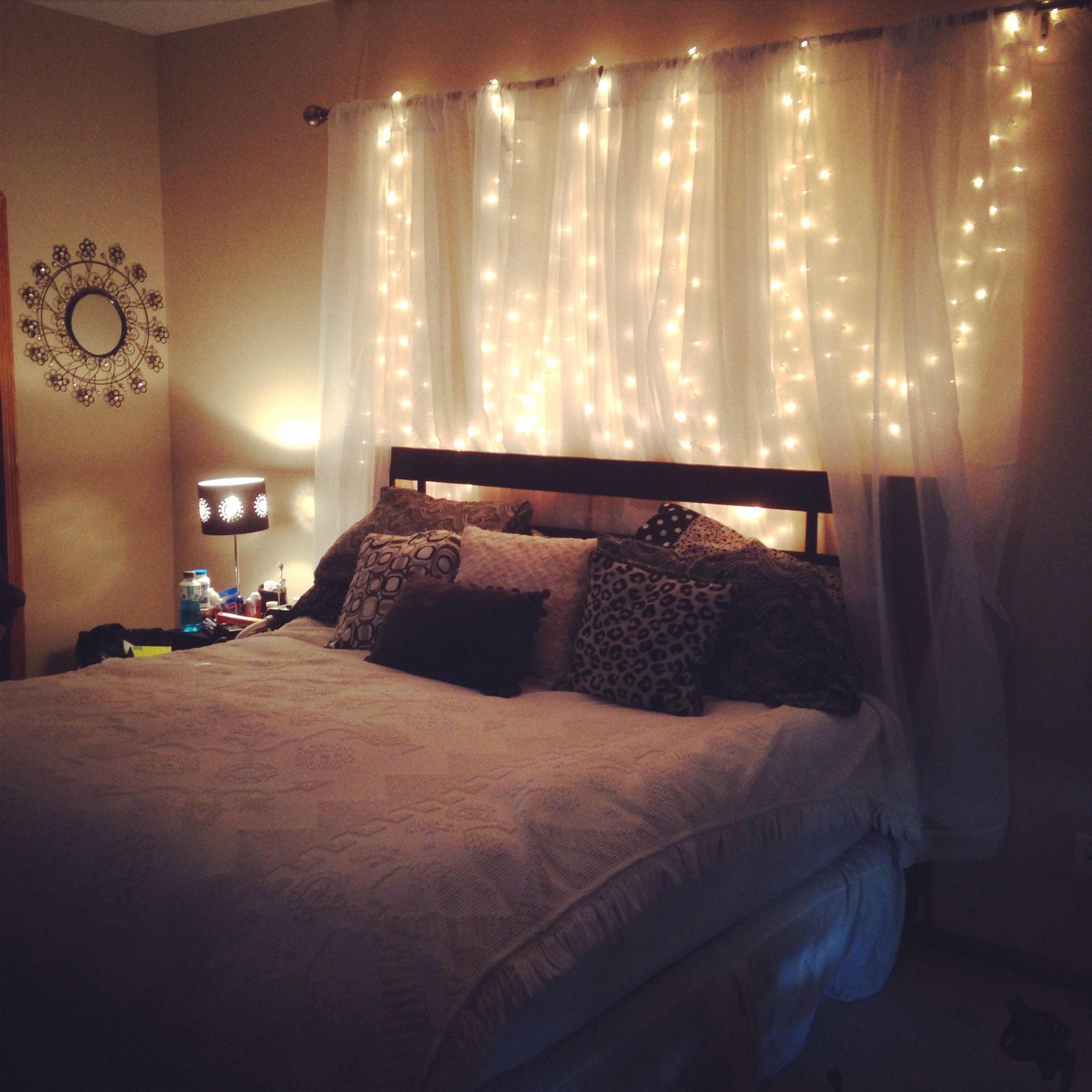 Homemade Headboard, Curtains, Lights. Weekend Project