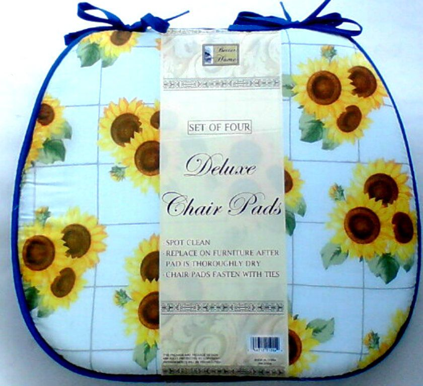 Set of 4 Colorful Sunflower Chair Pads Cushions White Yellow Green – Sunflower Chair Pads