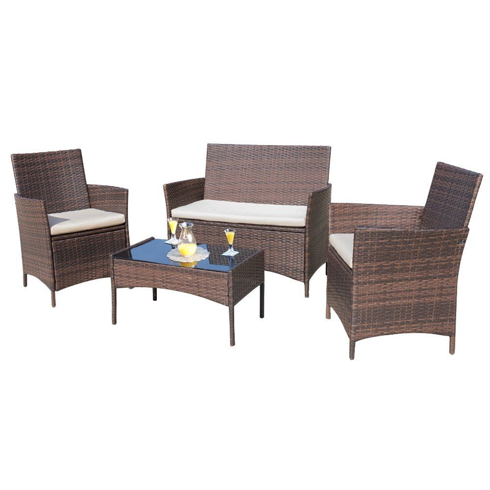 Amazon.com : Homall 4 Pieces Outdoor Patio Furniture Sets Clearance ...