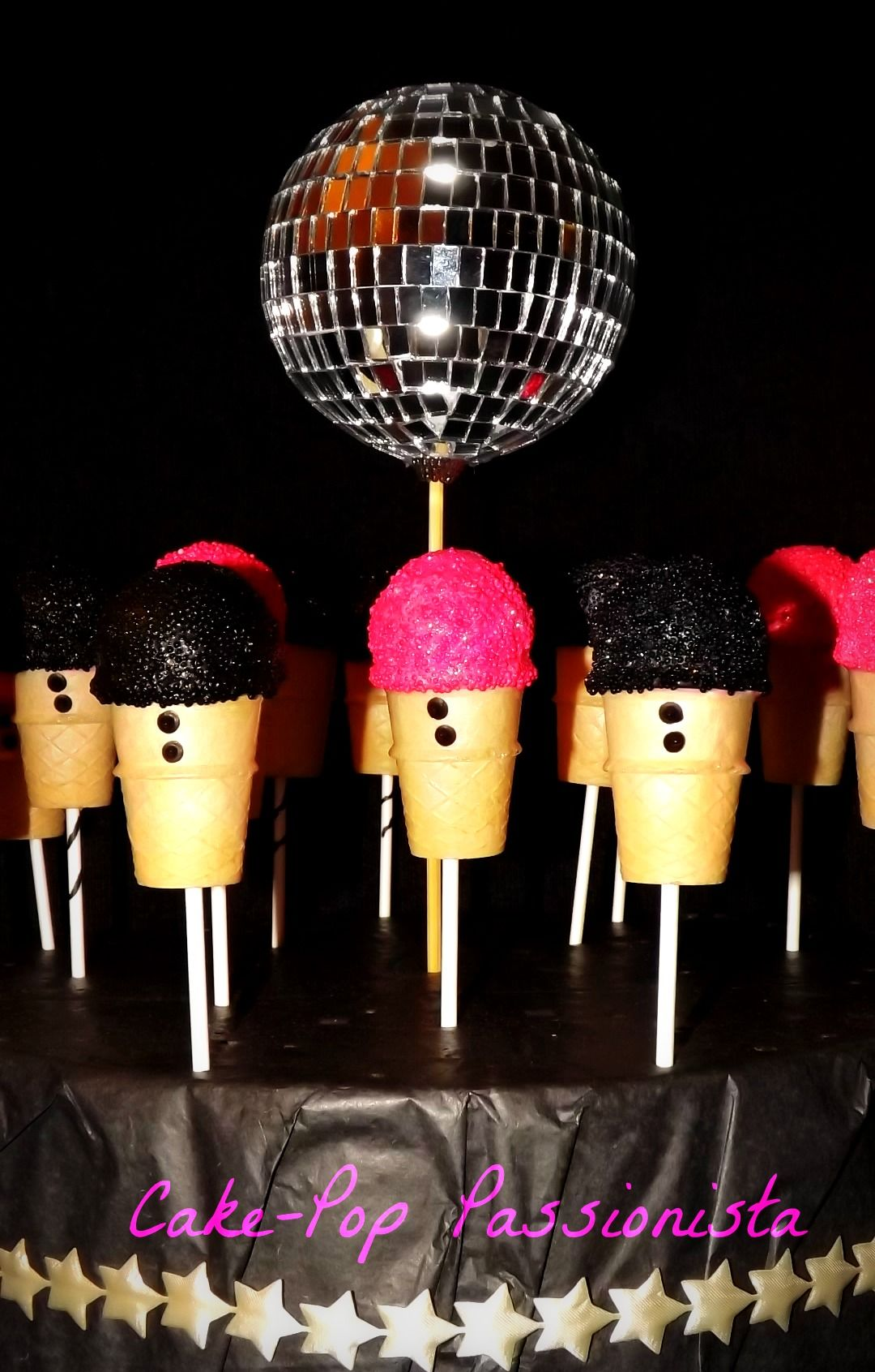 Rock Star themed Party Cone/cake pops. www.cake-pop-passionista.ca