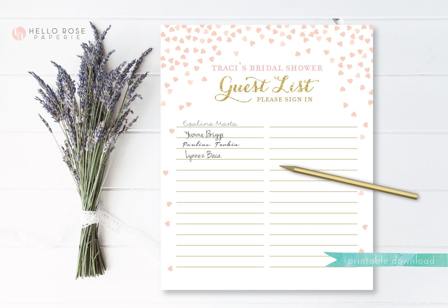 bridal shower guest list printable bridal shower personalized sign in sheet guest sheet