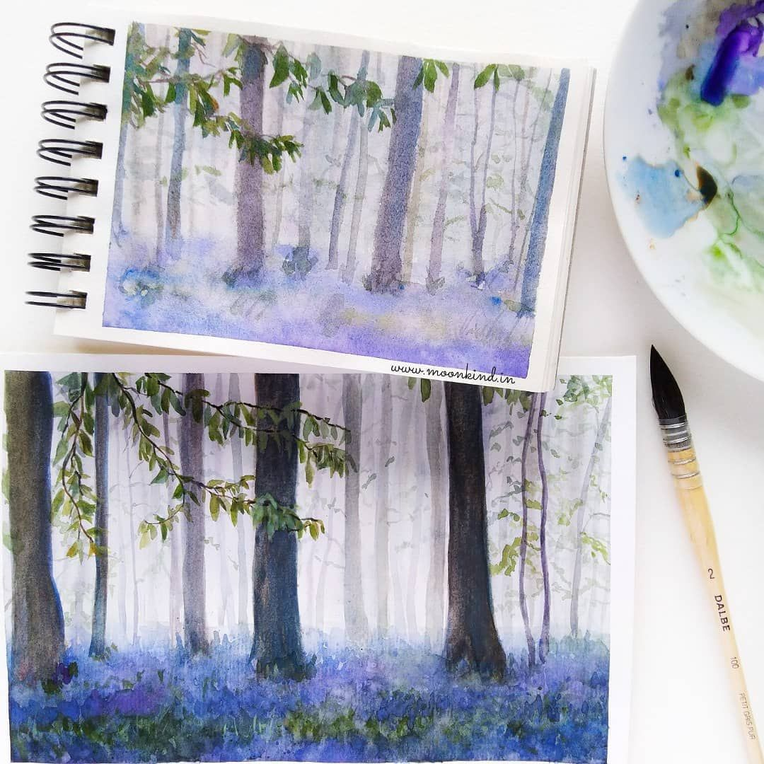 Watercolor Illustration Painting Of Bluebells Forest In Halle