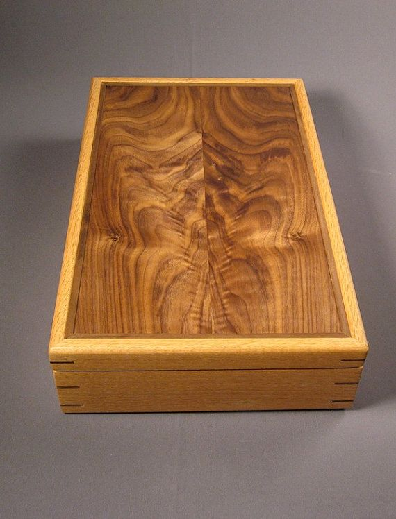 figured walnut and oak letter box by CreativeWoodworking on Etsy, $265.00