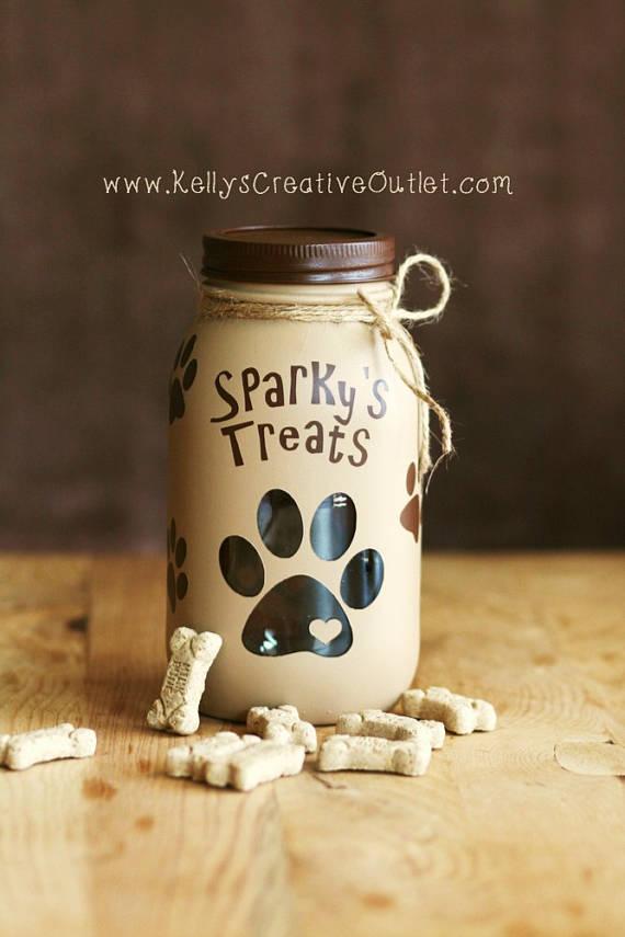 Dog Treats Jar Pet Decor Dog Gift Mason Jar Mason Jar Diy Mason Jar Crafts Diy Mason Jar Decorations