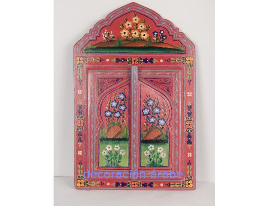 Espejo rabe madera pintada espejo artesania marroqui y - Comprar decoracion arabe ...