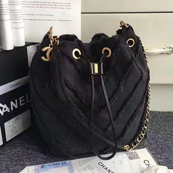 d2003b74857e Chanel Canvas Patchwork Drawstring Bag Black A93727