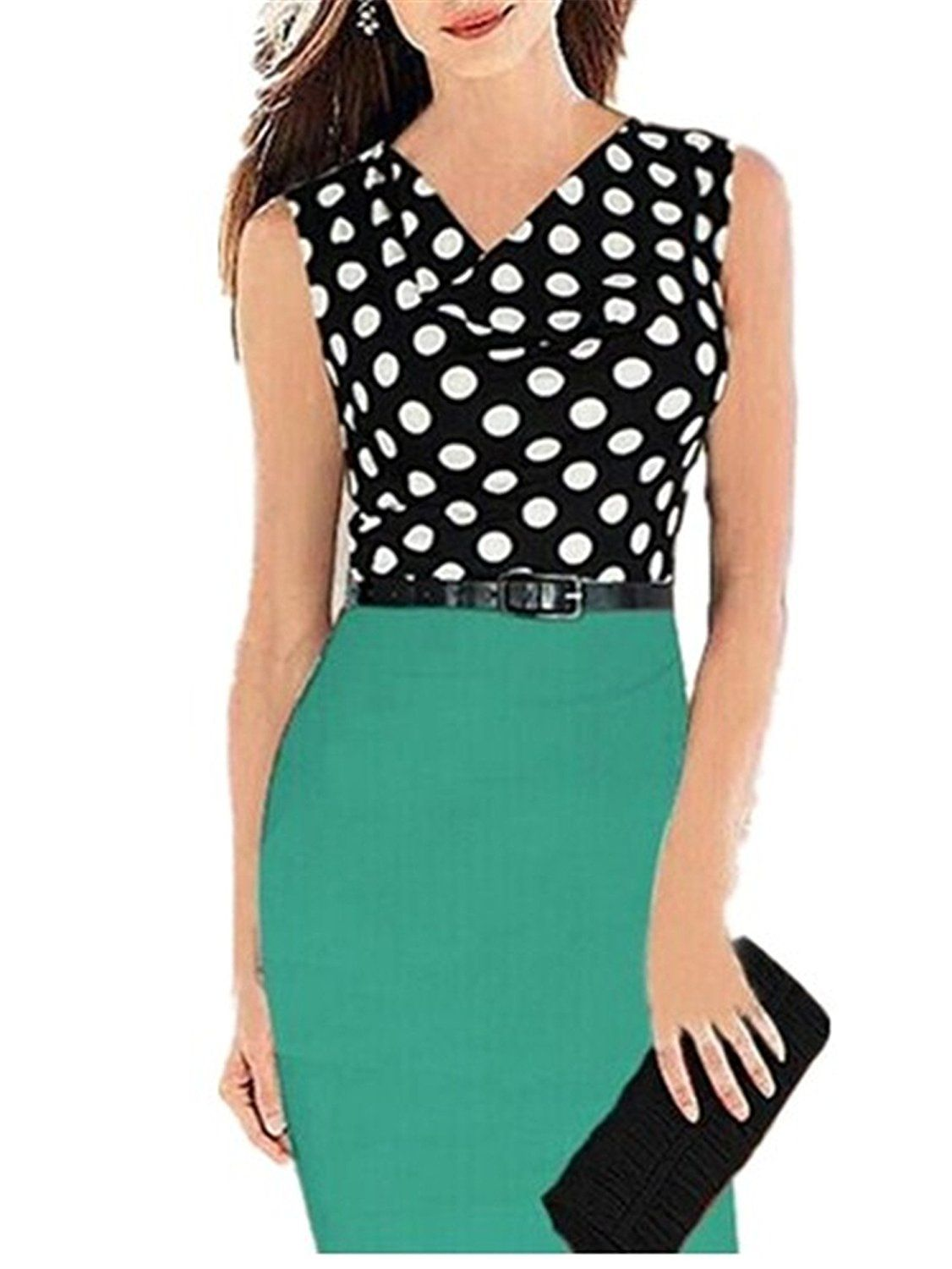 Aimur Women\'s Vintage Polka Dots Sleeveless Office Party Bodycon ...
