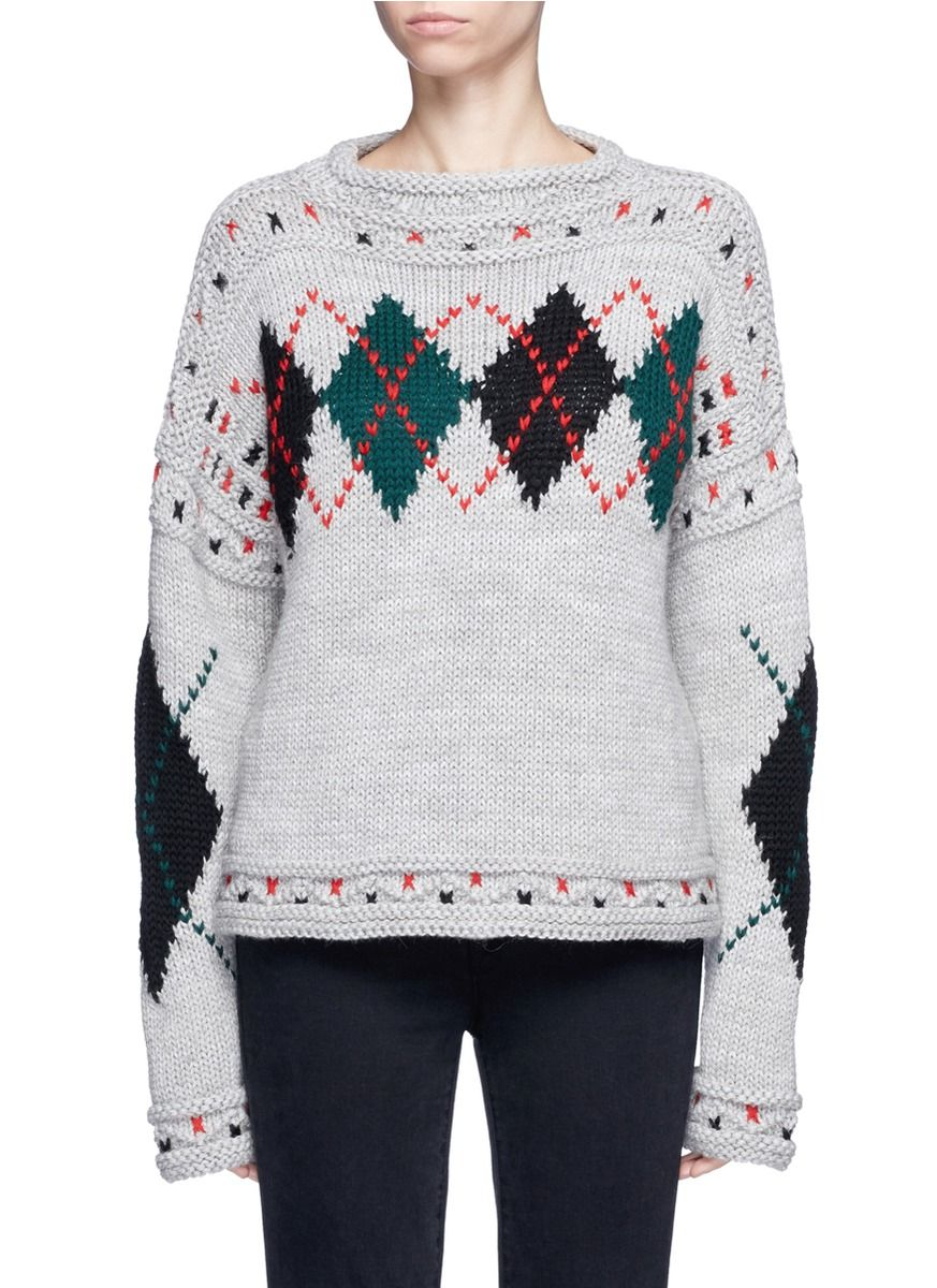 Cheap For Nice Geniue Stockist For Sale Isabel Marant Woman Argyle Wool And Alpaca-blend Sweater Dark Gray Size 36 Isabel Marant Cheap Sale Authentic Discount Manchester Free Shipping Visa Payment 6R7fOXvgz