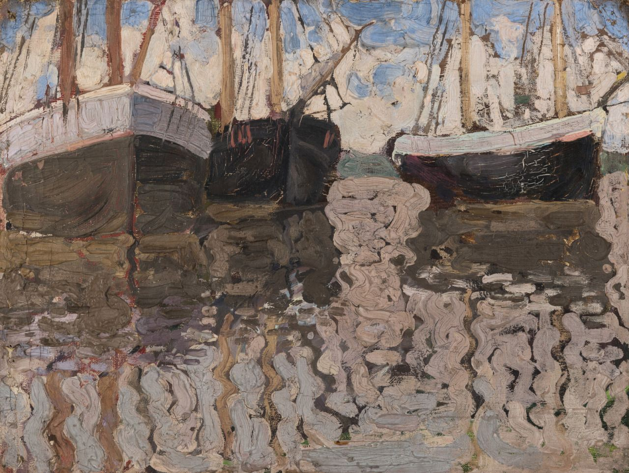"""amare-habeo: """"  Vladimir Baranov-Rossiné (Russian-French, 1888–1944) A View of Sail Boats, 1905/08 Oil on canvas laid on board, 33.5 x 44 cm """"I can never come up with what to say so here are some words that I love from Leonard Cohen:ring the bells that still can ring forget your perfect offering- there is a crack in everything that's how the light gets in ~leonard..."""