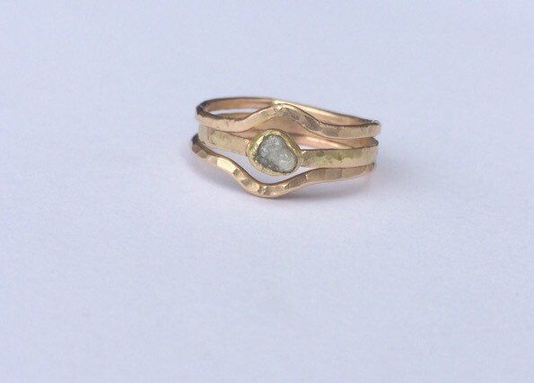 Stacking Recycled Gold Rings 18kt and 14kt with Conflict Free Raw Diamond- stack gold rings- engagement gold diamond stacking band ring by MelissaTysonDesigns on Etsy https://www.etsy.com/listing/240106167/stacking-recycled-gold-rings-18kt-and