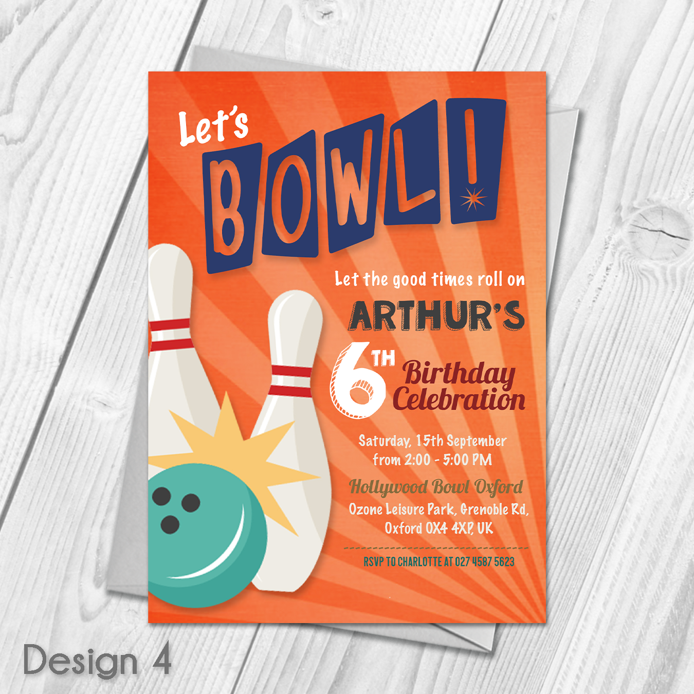 Personalised Kids Bowling Birthday Party Invitations Personalised