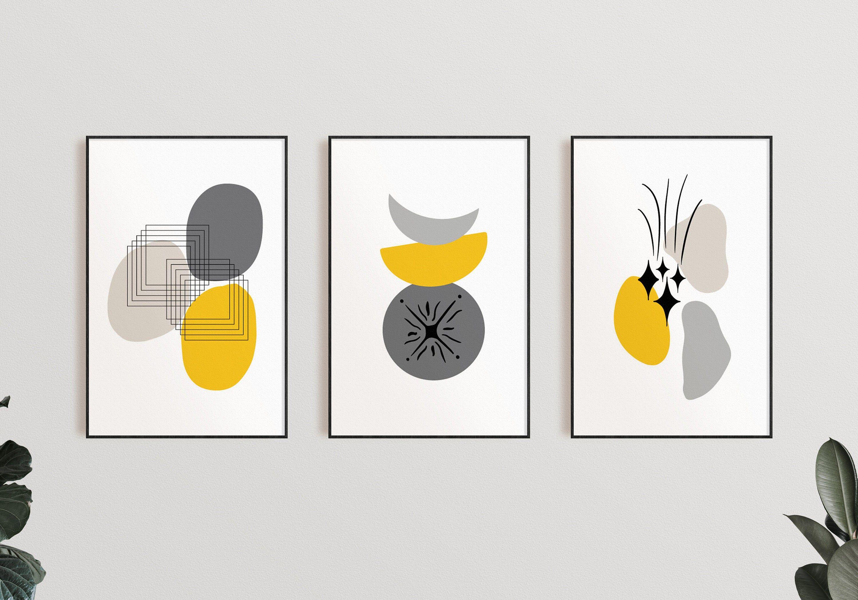 Abstract wall art prints yellow gray wall art minimalist