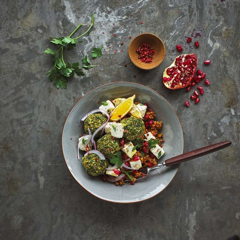 Spiced Freekeh with Chickpea and Spinach Balls Recipe