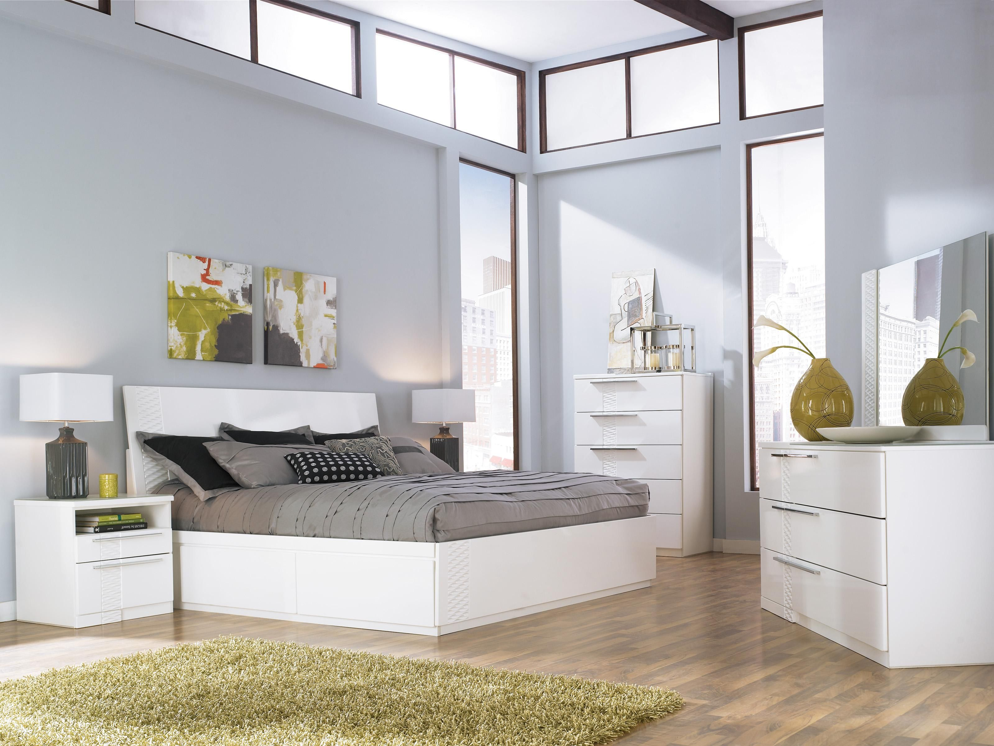 Millennium jansey metro modern white queen bed with headboard ...