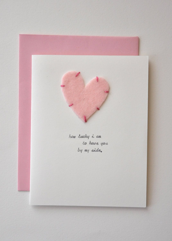 Handmade Anniversary Card Pink Felt Heart So Lucky Anniversary