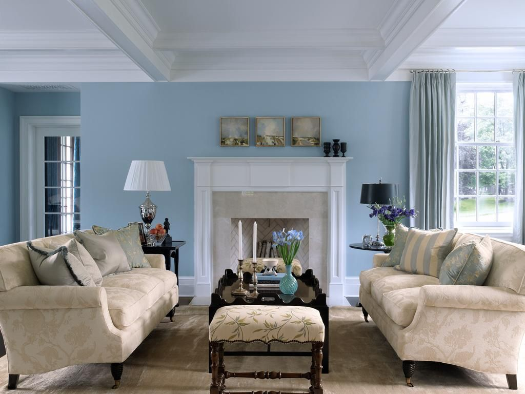 Sky Blue And White Scheme Color Ideas For Living Room Decorating With  Vintage Style Beige Fabric Sofa Furniture That Have Low Style Legs Complete  With The ...