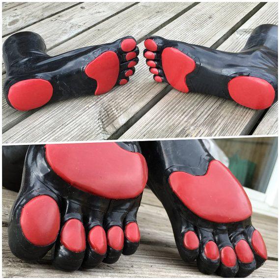 1f8861e698b BLACK Rubber Latex Toe Socks With Pawpads in 2019 | Toe socks | Toe ...