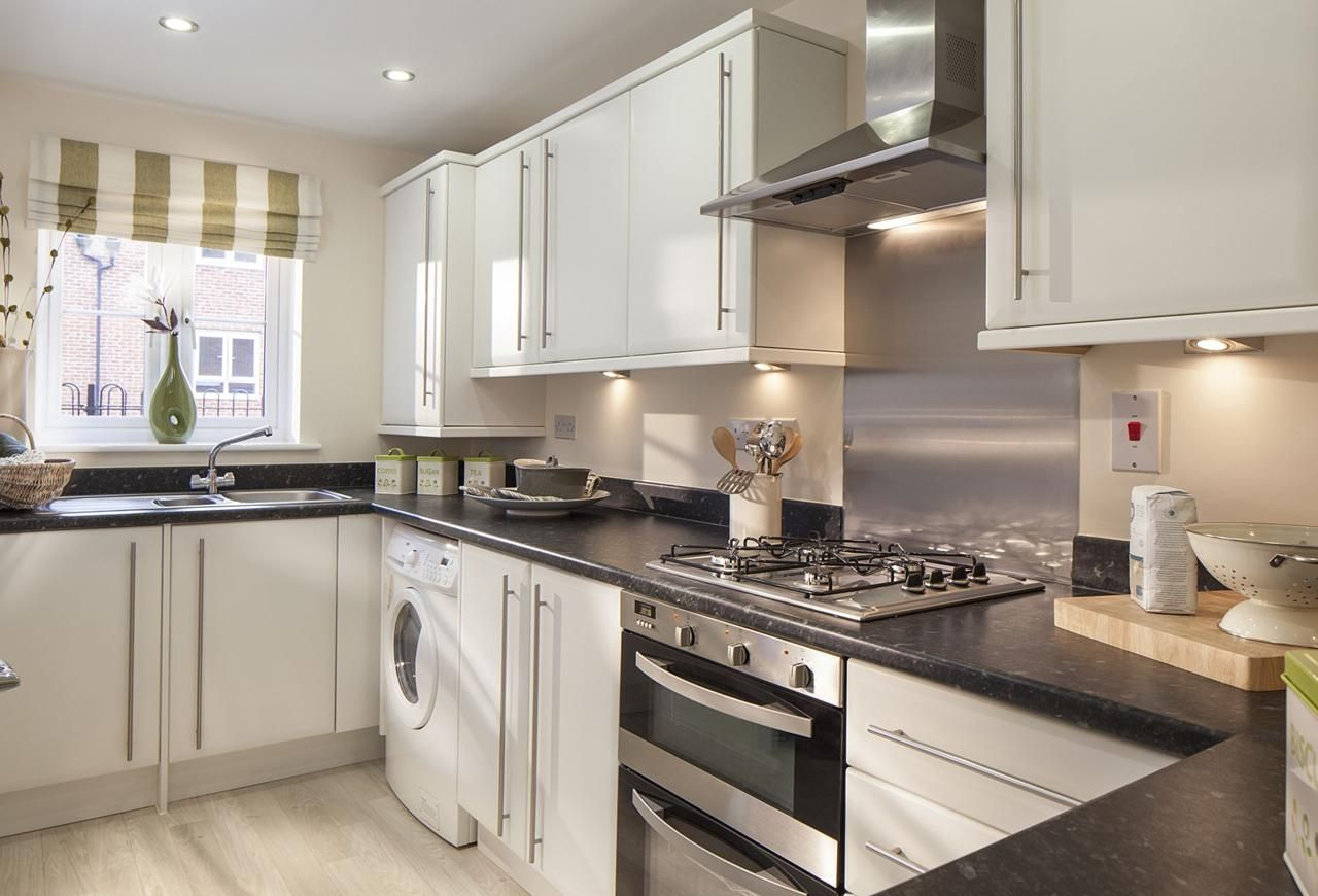 Another black and white small kitchen dwh show home