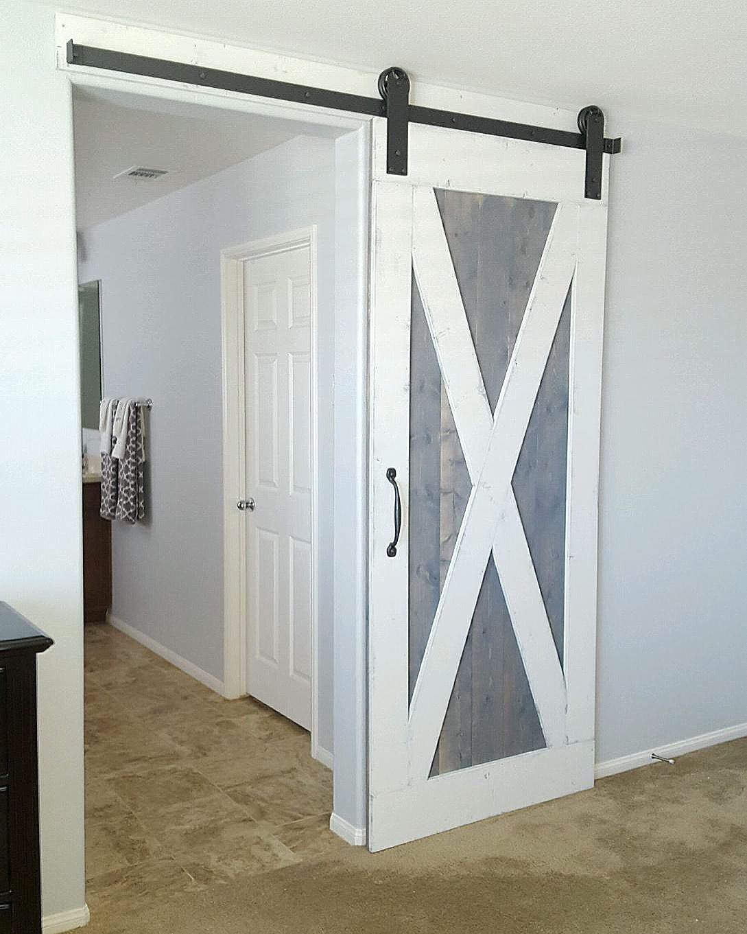 Distressed White/Weathered Gray Barn Door with Hardware
