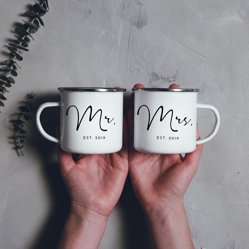 His and Hers Campfire Mug Set Hers Mug His Mug Camping Mug Enamel Mug Mr Mrs Mugs Mrs Mug Camp Mug