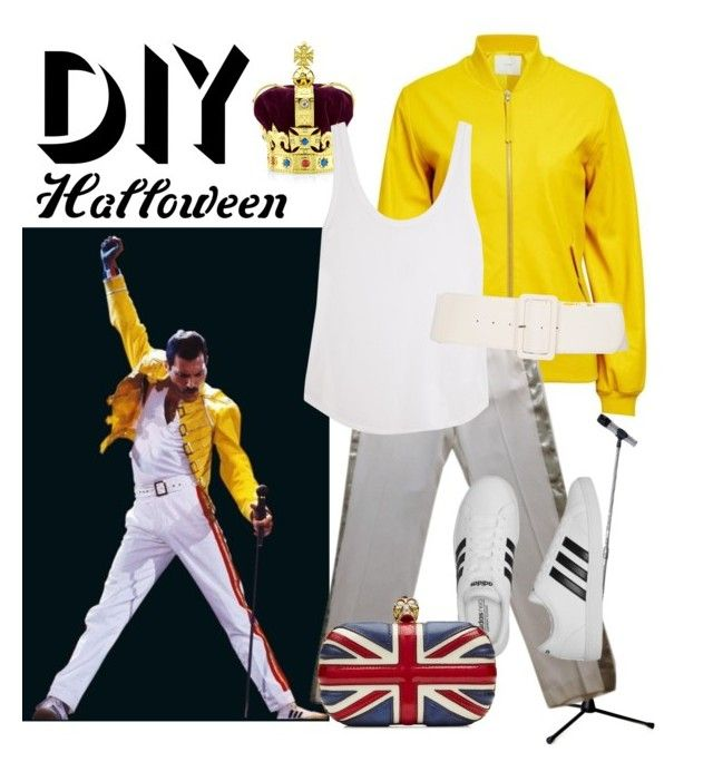 """DIY Freddie Mercury"" by enorthington ❤ liked on Polyvore featuring ADAM, Royal Collection Trust, Claudie Pierlot, Frame Denim, adidas, Alexander McQueen, halloweencostume and DIYHalloween"