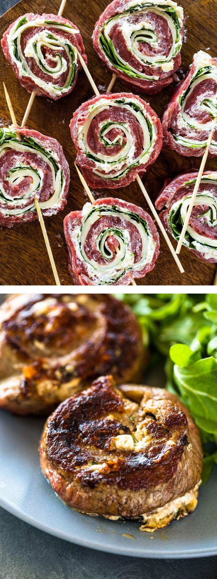 Spinach Cheese Stuffed Flank Steak Rolls | Gimme Delicious #recipesforflanksteak