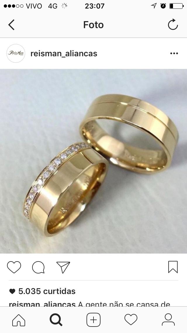 7e654bd99d5 Alianças Suiça ♥ Casamento e Noivado em Ouro 18K - Reisman Casamento No  Campo Decoração