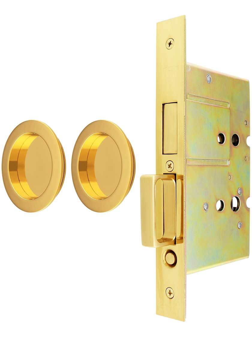 Premium Dummy Pocket Door Mortise Lock Set With Round Pulls Lock Set Mortise Lock Pocket Doors