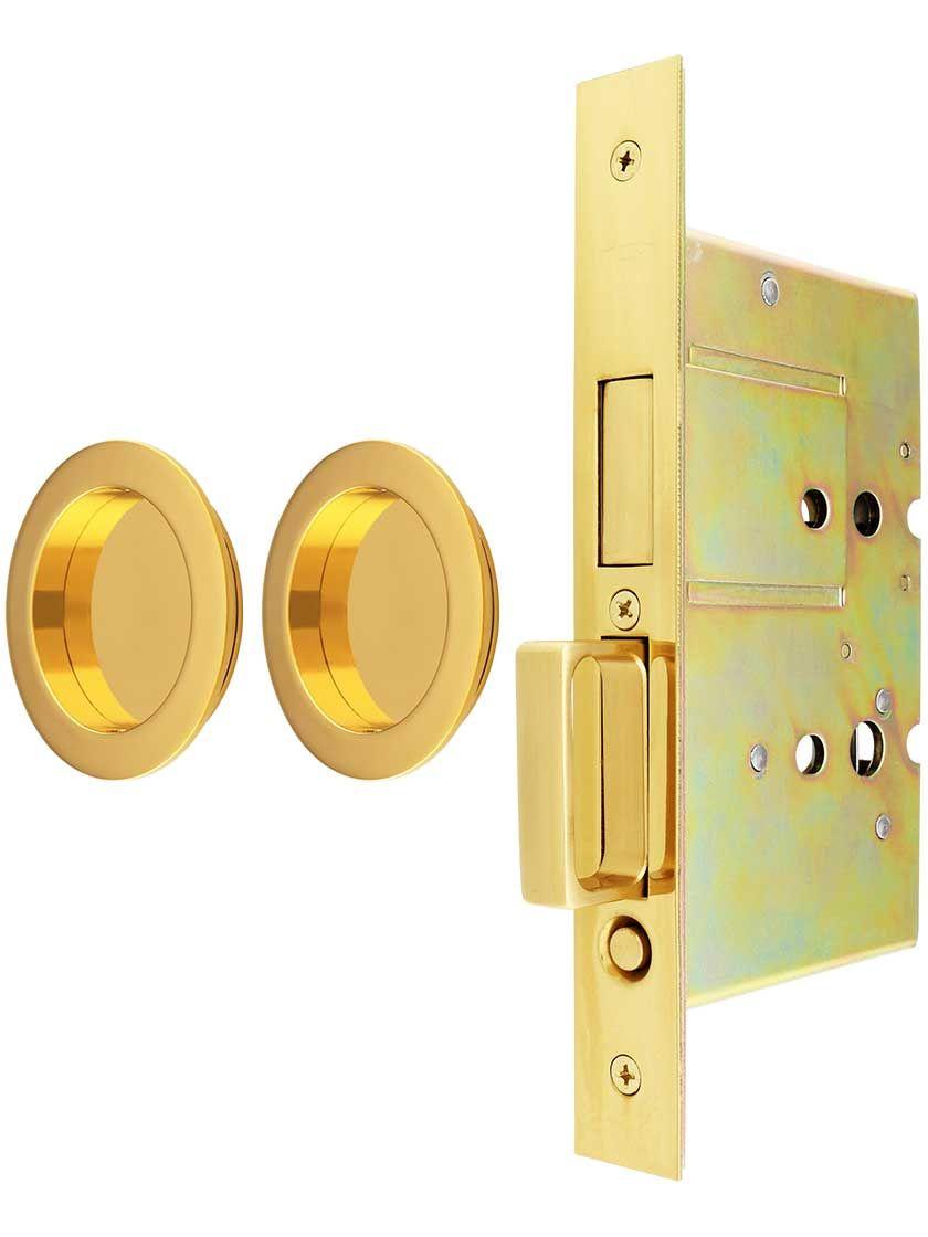 Premium Dummy Pocket Door Mortise Lock Set With Round Pulls Lock