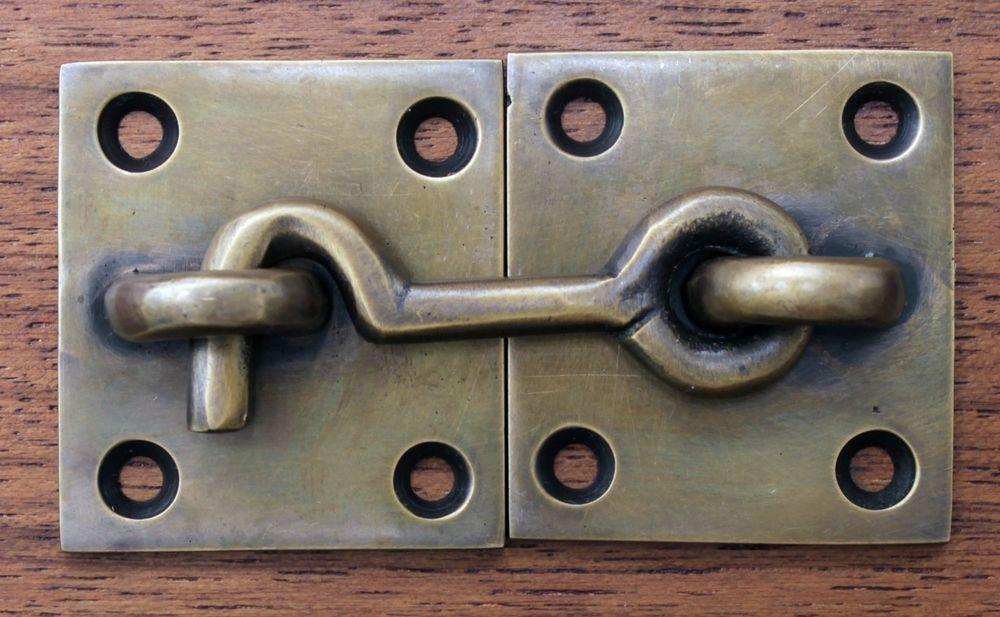 Vintage Cabin Cabinet Door Latch Hook Solid Brass Hasp Lock Gate & Vintage Cabin Cabinet Door Latch Hook Solid Brass Hasp Lock Gate ...