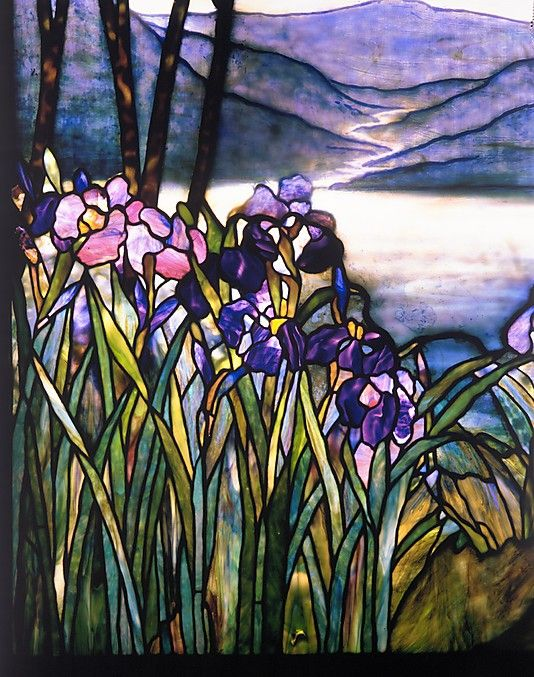 Louis Comfort Tiffany Magnolias And Irises Stained Glass Art