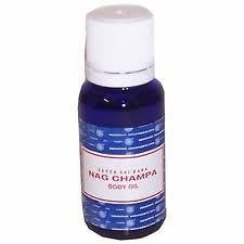 Nag Champa Body Oil by Satyam Satya Sai baba is an Oriental fragrance that can be used as a fragrance oil or for massage and aromatherapy.  It is made with a secret blend of herbs, flowers, woods and resins.  It is very similar to the fragrance of unburned nag champa incense.