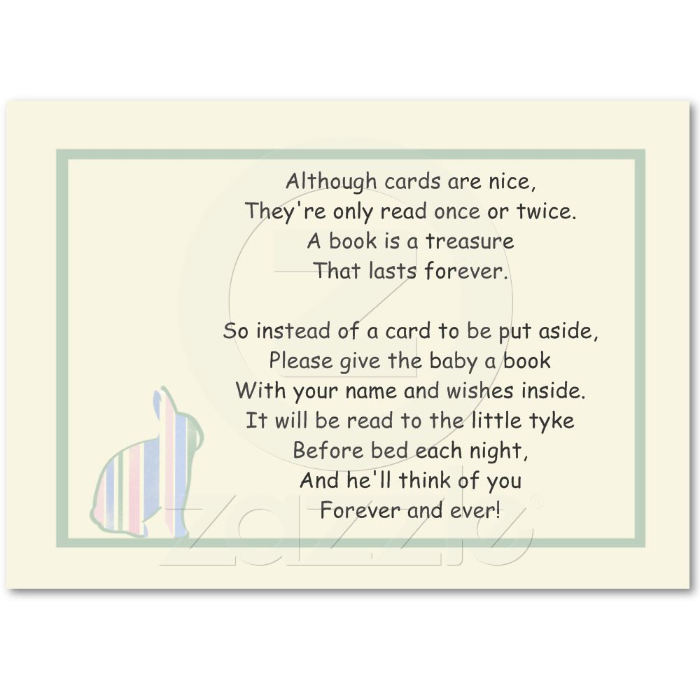 Quotes To Write In Books For Baby: Striped Bunny Baby Shower Book Poem - Insert Card