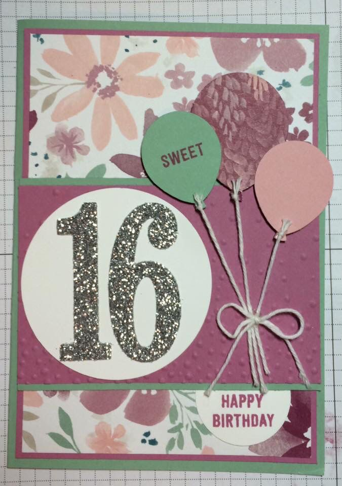 Sweet Sixteen Birthday Card Stampin Up 16th Birthday Card Girl Birthday Cards Cards Handmade