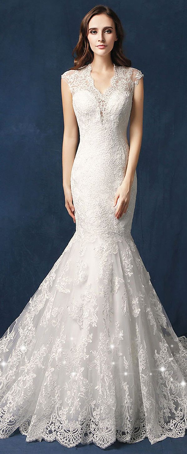 Cut out lace wedding dress  Gorgeous Tulle Vneck Neckline Cutout Back Mermaid Wedding Dress