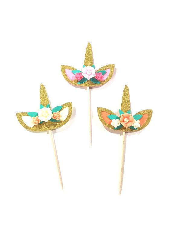 10 pcs flowers unicorn horn ear cupcake topper gold glitter birthday