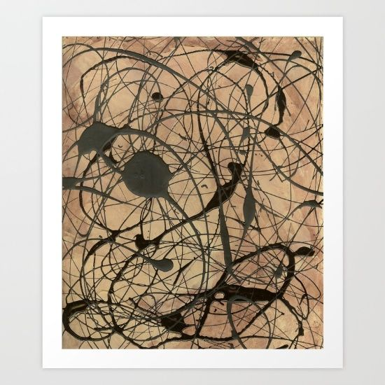 Pollock Inspired Abstract Art Black On Beige Painting by Corbin ...