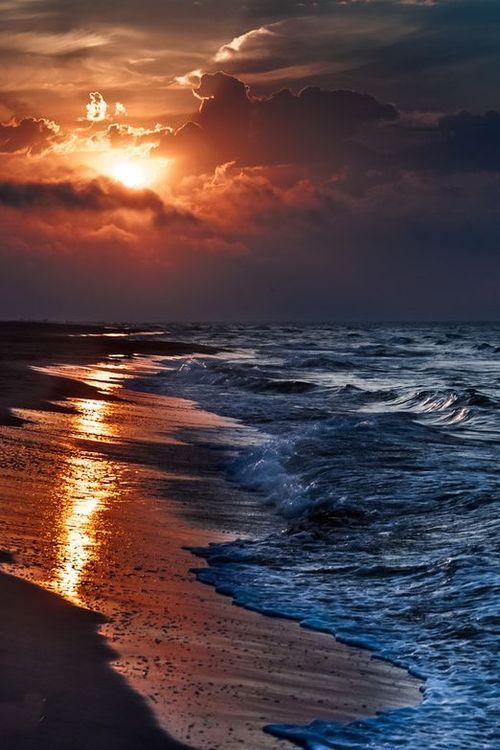 Ocean Sea Coastal Beautiful Sunset Scenery Landscape