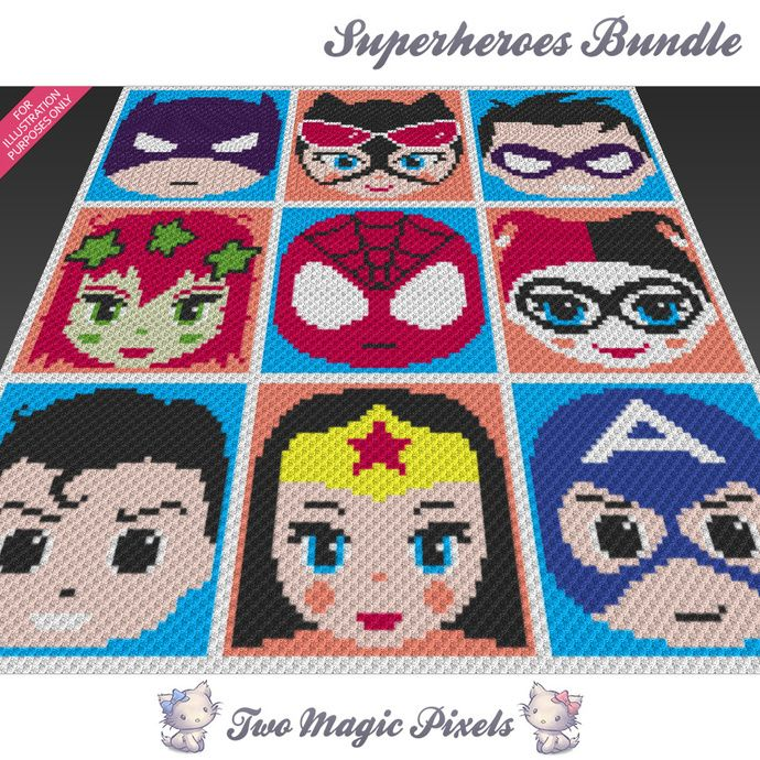 Superheroes Bundle, 9 graph crochet blanket pattern; knitting cross ...