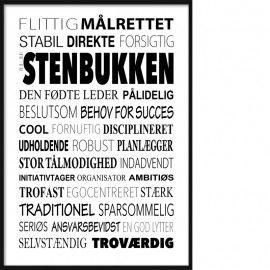Stenbukken Plakat Tekstcollage Med Stikord Jomfru Sjove Citater Jokes Citater