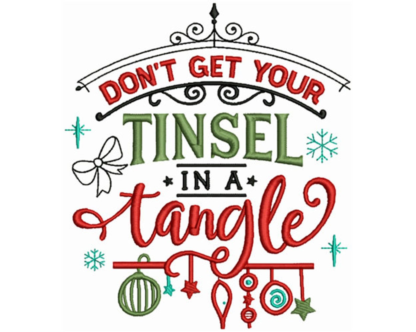 Dont Get Your Tinsel In A Tangle Machine Embroidery Design Etsy In 2020 Machine Embroidery Designs Christmas Machine Embroidery Christmas Machine Embroidery Designs Projects