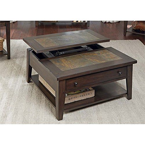 Hearthstone Dark Oak And Slate Lift Top Square Tail Table
