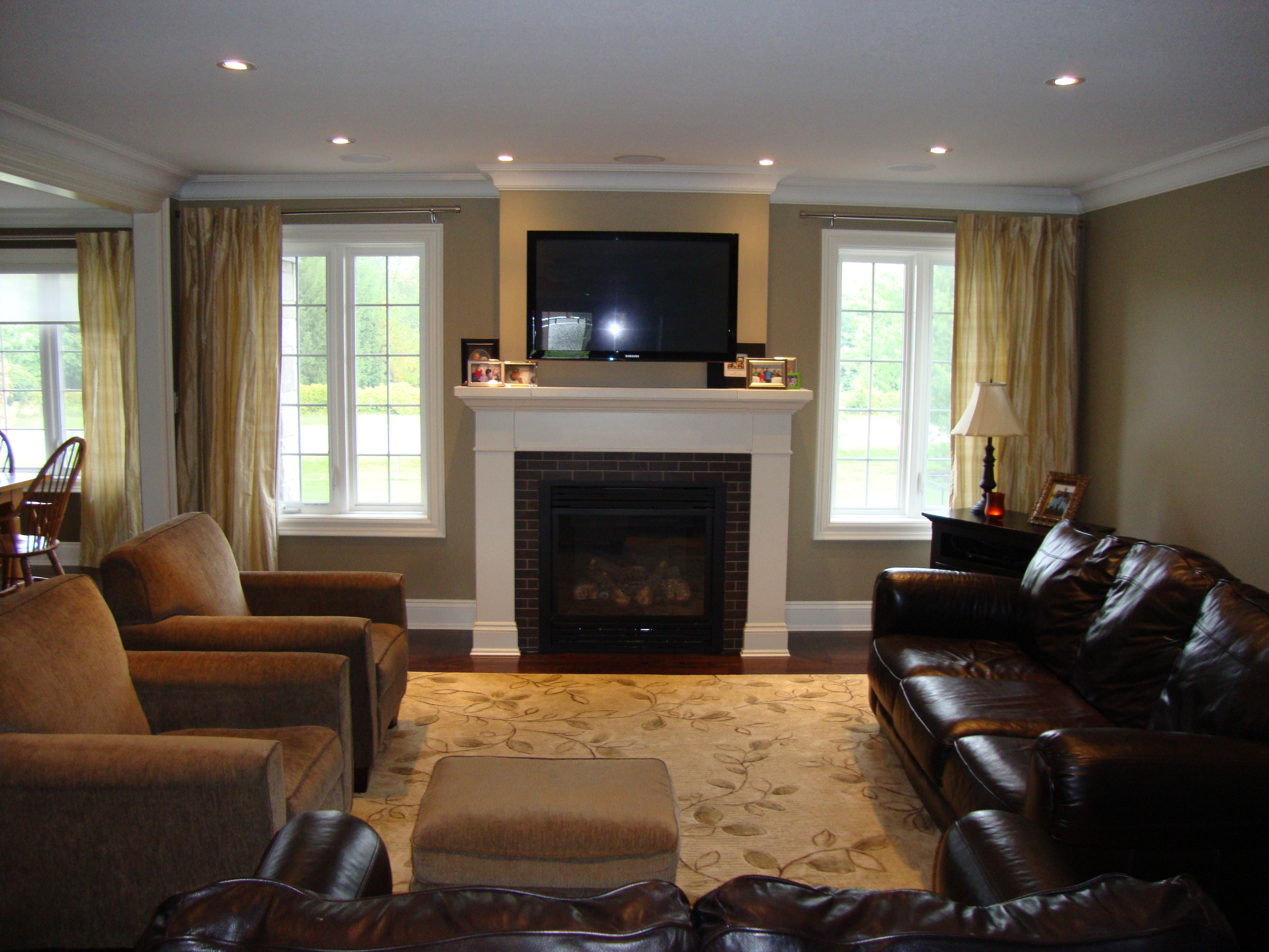 Lighting Basement Washroom Stairs: Great Room With Windows Flanking Fireplace, Furniture