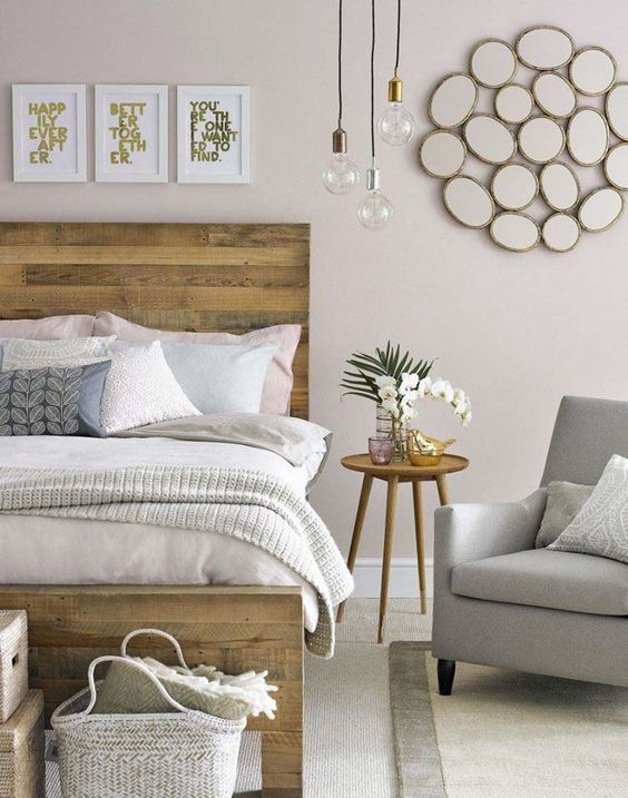 This is the headboard feel I\'m looking for. Natural/rustic wood but ...