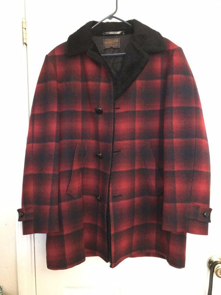 b3eeaa809 Vintage Pendleton Men's Wool Buffalo Tartan Coat Sherpa Collar Red ...