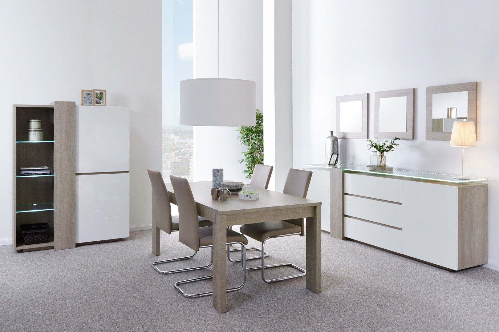 Salle A Manger Contemporaine Chene Gris Blanc Laque Angeline Salle A Manger Laquee Pas Cher Matelpro Dining Room Table Decor Furniture Living Room Style