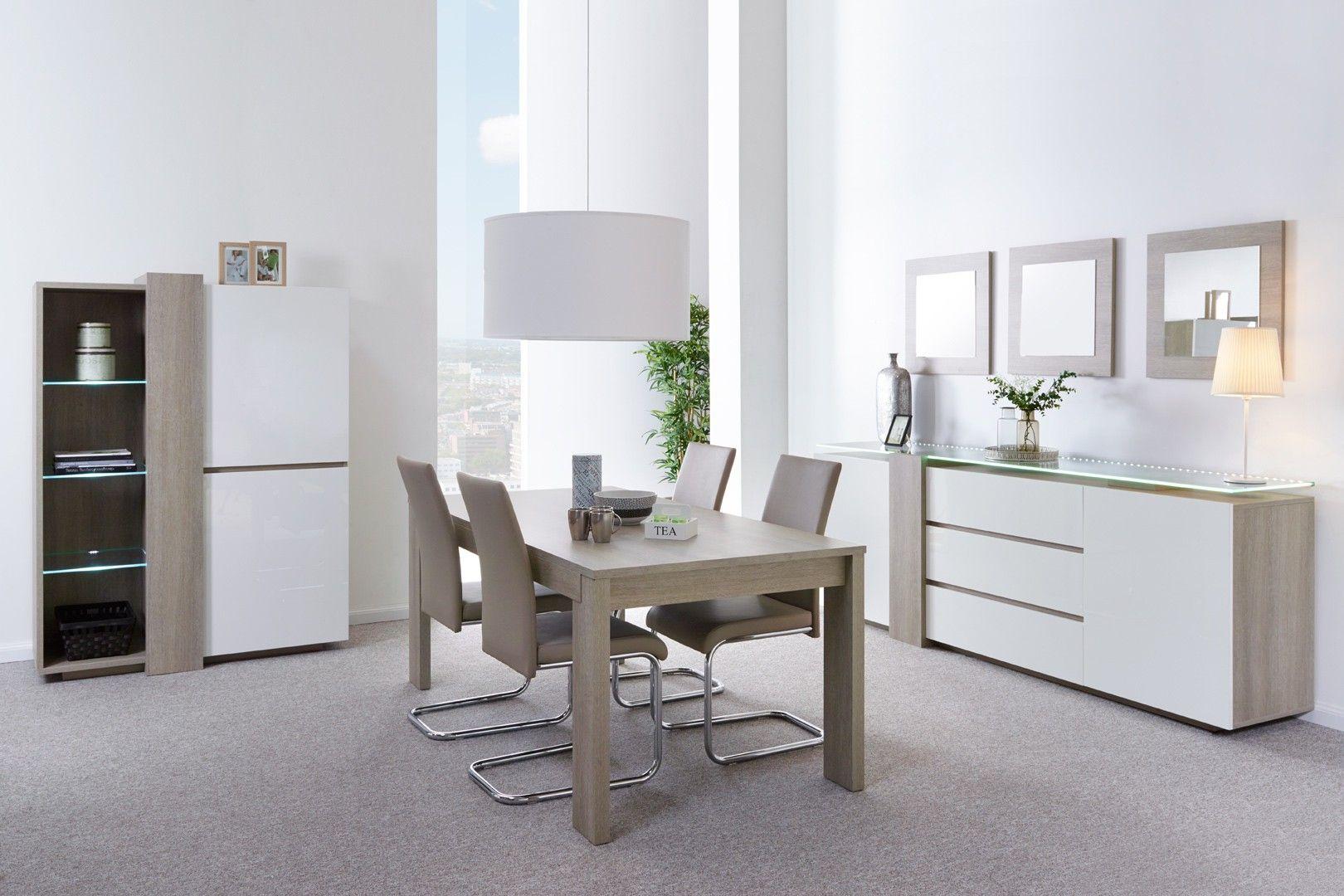 Salle à manger contemporaine chêne gris/blanc laqué Angeline ...